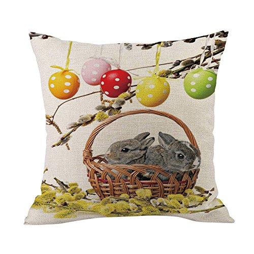 Reooly Happy Easter Sofa Bed Decoración del hogar Festival Funda de Almohada Funda de cojín 45cm * 45cm