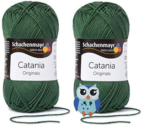 Schachenmayr Catania Wolle 2x50 Gr, 100% Baumwolle + 1 Eulen Knopf(419 Tannenbaum)