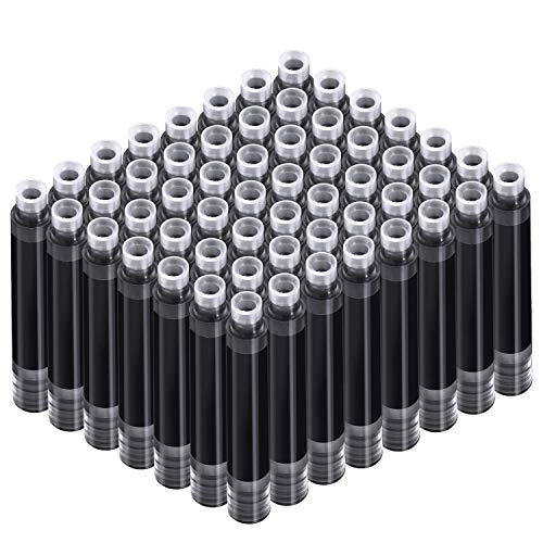 60 Cartuchos de Plumas Estilográficas Pluma de Tinta Recambio de Pluma de Cartuchos Corto con 3,4 mm Diámetro de Agujero para Pluma 2 Pulgadas x 0,28 Pulgadas/ 5,1 x 0,7 cm (Negro)