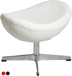 MLF® Arne Jacobsen Egg Chair's Ottoman in Top White/Cream Italian Leather. Famous Modern Design. (5 Colors)