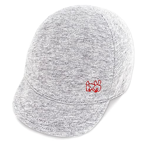 Keepersheep Baby Reversible Baseball CapInfant Sun Hat, Shell Embroidery Cotton (Gray-New Size, 6-12 Months)