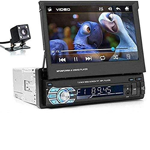Maso, autoradio a singolo DIN, lettore MP5 da 7 pollici, touch screen retrattile e telecamera posteriore, supporto 1080p, porta USB, AUX, radio FM AM