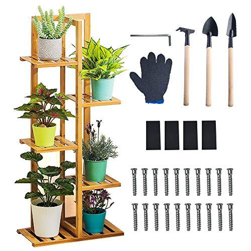 LTS Future Soporte para plantas con 5 estantes, escalera para flores, estantería de madera, estantería de jardín, estantería de escalera, para interiores y exteriores
