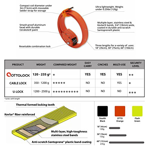 OTTOLOCK(オットロック)CinchSteel&KevlarCombinationLightweightLock-FlashGreen[Size:76cm(30Inch)][並行輸入品]