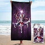 Sword Art Online Yuuki Asuna Toalla de secado rápido microfibra ligera para adultos Toallas de playa suaves para piscina, natación, viajes, silla de baño, gimnasio, deportes, 31.5 x 63 pulgadas