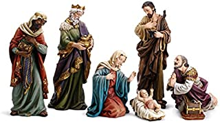 Avalon Gallery Christmas Holy Family 7-Piece Large Hand Painted Nativity Scene Set