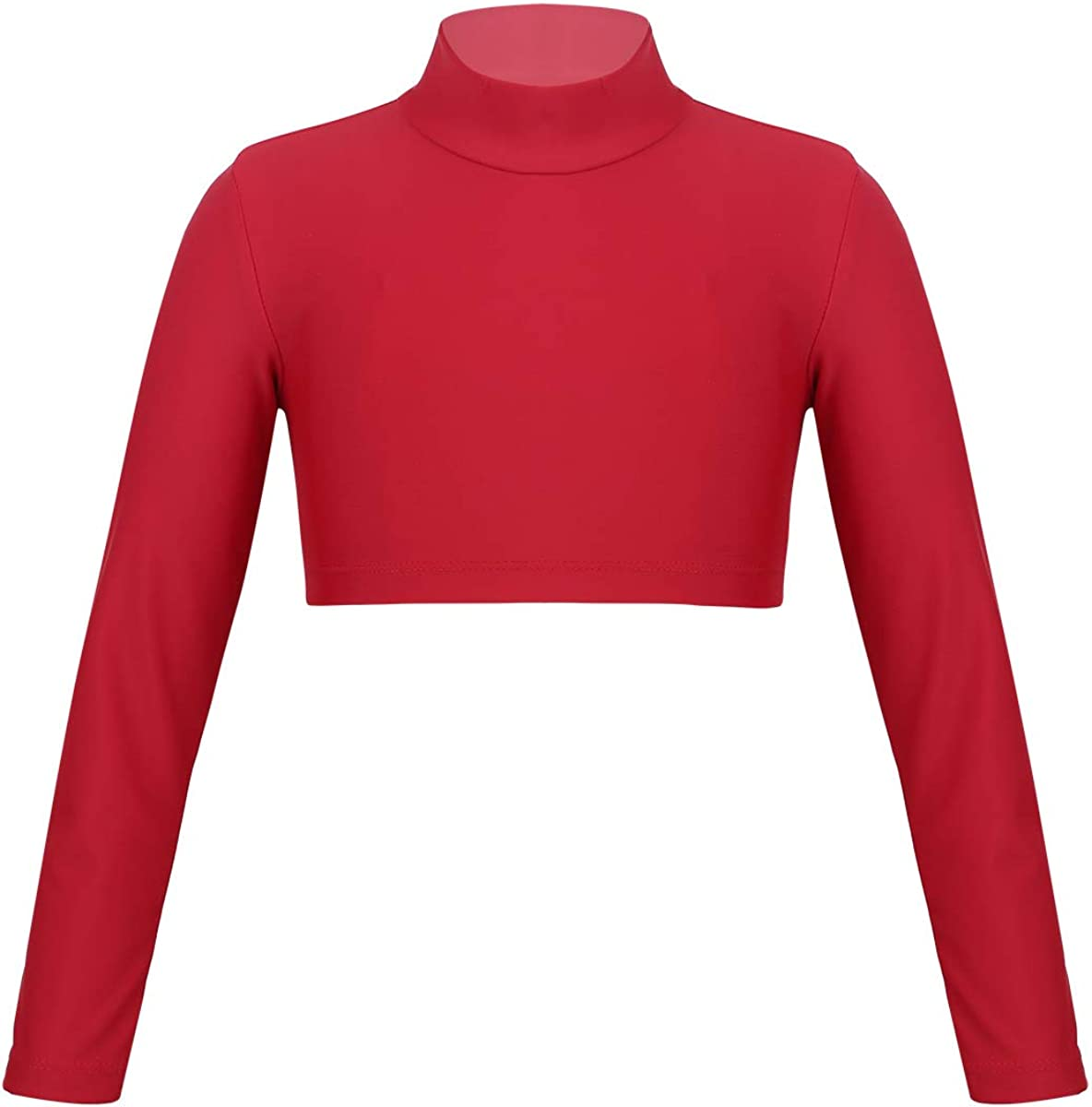 Kaerm Kids Girls Sleeveles Criss Cross Back Tops Crop Tanks for Ballet Dance Athletic Stage Perfomance Wear Red Long Sleeves 10
