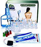 Synteam 12-Cup Vacuum Cupping Set, Professional Biomagnetic Chinese Cupping Therapy Sets Hijama Massage Kit with Big Sized Cups (Blue)