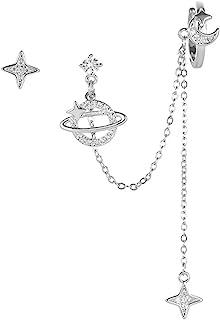 Planet CZ Moon Star Ear Cuff Wrap Clip On Clawler Climber Hoop 925 Sterling Silver Post Stud Chain Threader Tassel Asymmet...