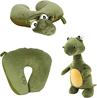 Missley 2 in 1 Dinosaur Neck Pillow Soft U-Shape Pillow Changeable Animal Cushion Funny Plush Toy Gifts for Children Lover