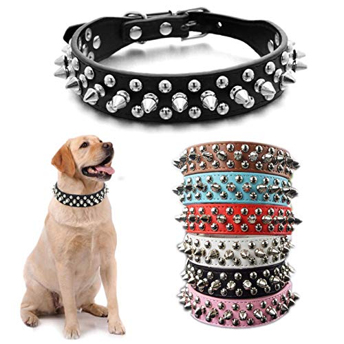 DOGGYZSTYLE Spiked Studded Rivet Leather Dog Collar for Cats Puppy Small Medium Pets(Black,S)