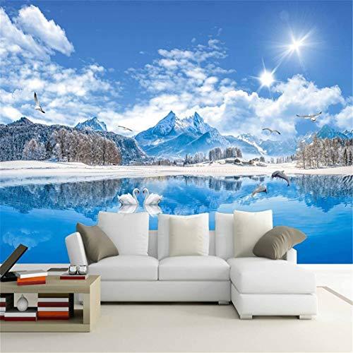 Fotobehang, foto, aangepaste muurfoto's, wallpaper, 3D-natuur, landschap, swan lake, sneeuw, mountainbike, wanddoek, woonkamer, tv, sofa, achtergrond wandfoto's 400 x 280 cm.