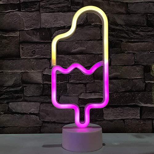 LED Eis am Stiel Neonlicht Zeichen Neon Schilder Lampen Blitz Neon Lights Dekor-Blitz Neonlichter Batterie/USB Powered Nachtlicht für Weihnachten Kinderzimmer Wohnzimmer Hochzeit Dekor