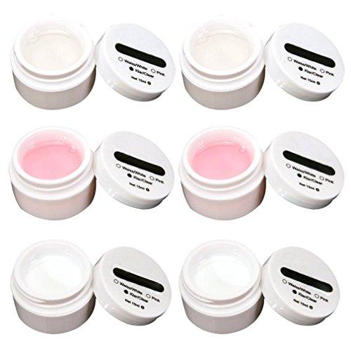 SODIAL (R)Lot de 6 gels uv pr ongles faux tip french manucure transparent/rose/blanc