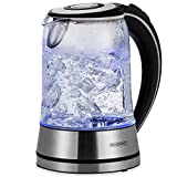 monzana Wasserkocher Edelstahl Teekocher • Glas • LED • BPA frei • 1,7 L • kabellos •...