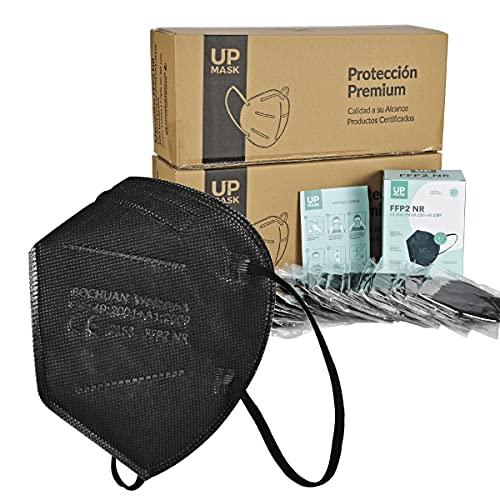 Bochuan x20 Mascarillas FFP2 Premium Negras de 5 Capas con Certificación Europea [ UpMask ] CE 2163 | EN149:2001+A1:2009 | UE 2016/425 (Negras, x20 uds)