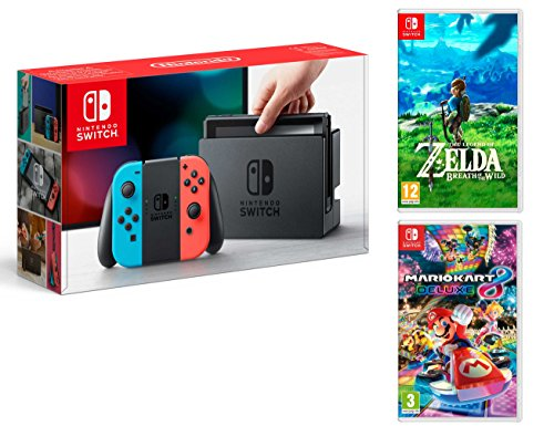 Nintendo Switch console Rouge/Bleu Néon 32Go + Mario Kart 8 Deluxe + Zelda: Breath of the Wild