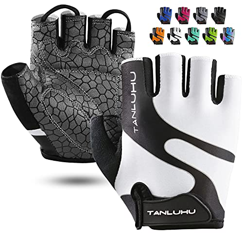 Tanluhu Cycling Gloves Mountain Bike Gloves Half Finger Road Racing Riding Gloves Breathable Shock-Absorbing Biking Gloves for Men and Women (A-White, L)