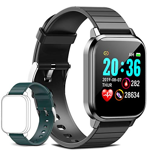 AOYODKG Reloj Inteligente para Hombres y Mujeres para Adultos y niños, Monitor de Ritmo cardíaco, Ip68 a Prueba de Agua, Bluetooth, múltiples Modos Deportivos, 180 mah, Compatible con Android iOS