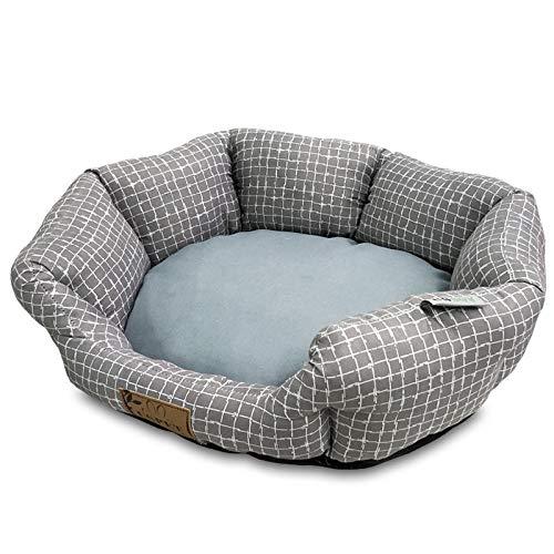 Hundekissen Hundematratze für kleine mittlere große Hunde, orthopädisches Hundebett kuschelig Schlafplatz -Polyester Karo grau_S.