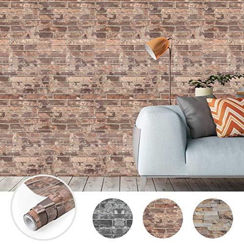 Steintapete 3D Optik selbstklebende Tapete Wandaufkleber Wandtapete Ziegelstein Backstein 0.61 * 5M für Wohnzimmer, Schlafzimmer Flur (Farbe B)