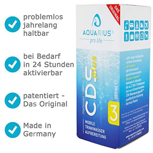 AQUARIUS pro life® - CDSplus 250 ml - patentierte ChIordioxid Lösung I CDL Tropfen I Chlorine Dioxide Solution I auf Wunsch aktivierbar I Das Original I Made in Germany