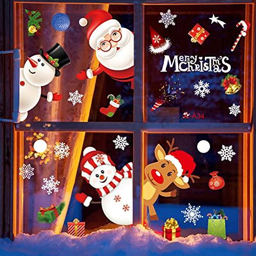 BEKOIUP Pegatinas de Navidad Ventana,Reutilizable PVC Pegatinas Navidad,Decoración navideña para el hogar con Reno Santa Claus Copos Nieve Decoracion