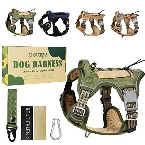 PETAGE Tactical Car Dog Harness No Pull, Reflective Military Dog Harness with Handle, Service Dog Vest Includes Dog Seat Safety Belt Tether, Adjustable Working Pet Vest for Small Medium Large Dogs