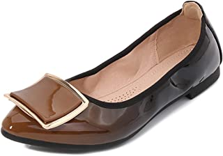 Women's Pointed Toe Flats, Large Size 1Cm High Heel Sole Very Soft Gradient with Square Metal Buckle Single Shoes Suitable for Daily Wear