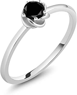 10K White Gold Black Diamond Solitaire Engagement Ring 0.17 Ct Round Cut (Available 5,6,7,8,9)