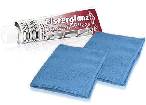 Helmecke & Hoffmann * Elsterglanz 150 ml Keramik-Pflege Polierpaste + 2 Microfasertücher 30 x 30 cm