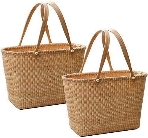 FZWAI Rattan Grass Shoulder Bags Straw Women's Knitting Handbags Handmade Storage Bag Travel Wicker Storage Flower Basket 40x19x27cm (Size : 2PCS)