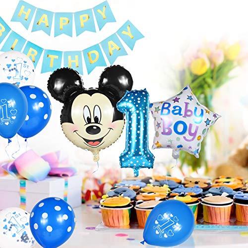 Compleanno Decorazioni 1 anno, Palloncini Party Mickey, Palloncino Compleanno Numero 1 Topolino e Minnie Forniture per Feste Minnie Festa Compleanno Kit 1 Anno Decorazioni per Neonati Ragazzo