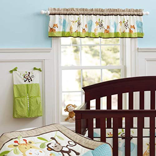 Window Valance Cotton Curtain for Baby/Toddler/Kid Bedroom Bath Laundry Living Room, Jungle Elephant Monkey Pattern by Brandream