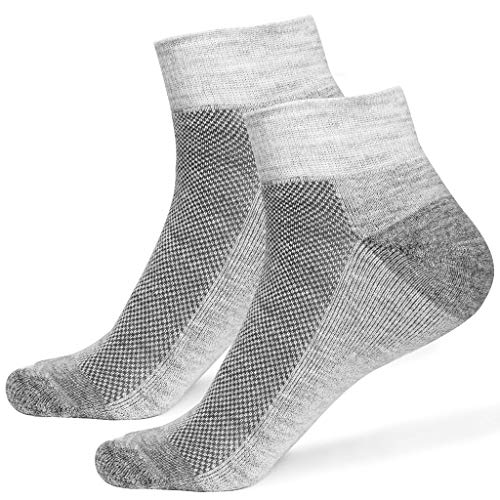 2 PAIRS Alpaca Wool Socks for Men & Women - Extra Thick Warm Ankle Socks Crew Winter Outdoor Hunting Boot Sock (Large, Grey)