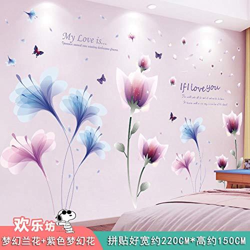 Pegatinas decorativas de papel de pared autoadhesivas-Extra grande_03. Orquídea de ensueño +...