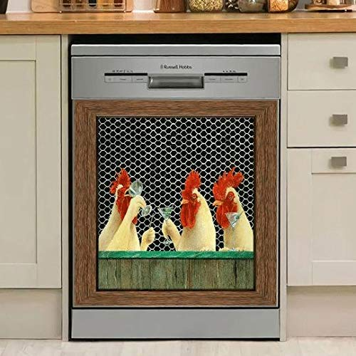 TEANQIkejitop Decoración de cocina Gallo imán para lavaplatos, gallo electromagnético cubierta del lavaplatos, panel de pollo vinilo decoración del hogar (etiqueta magnética)
