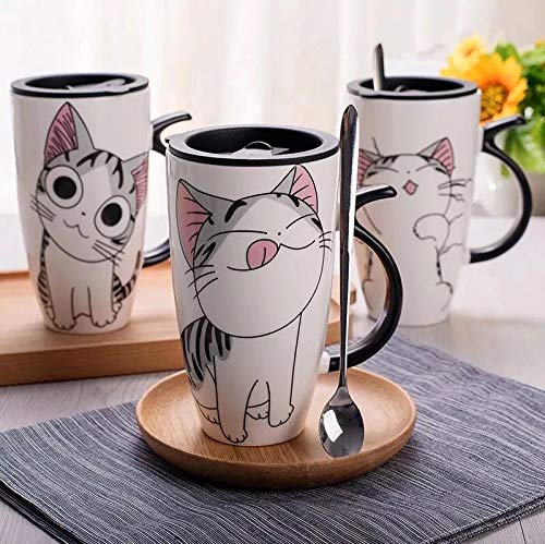 Tazza in ceramica bianca con disegno di gattino 600 ml - Compresa di coperchio di chiusura e cucchiaino - Tazza per thè, latte, caffè - Ideale come idea regalo (G-03)