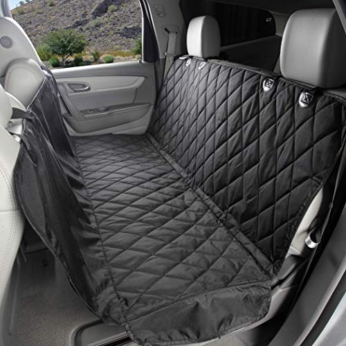 4Knines Dog Seat Cover with Hammock for Cars, Small Trucks, and SUVs – Heavy Duty, Non Slip, Waterproof -Black Regular – USA Based Company