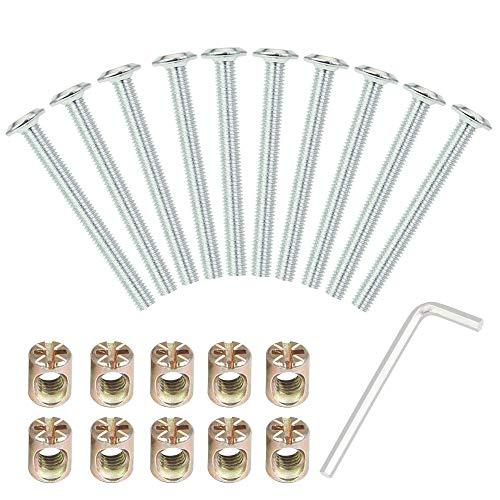 BUZIFU Hexagonale Schraubennuss-Kit,Enthält 10Stück M6-Schrauben mit 10-PCs Tonnennüssen und 1 Sechseck Allen-Schlüssel 4 MM, Ideal für die Montage von Bett, Sofa, Stuhl, Schrank, Regal