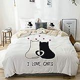 Juego de funda nórdica beige, ideal para amantes de los gatos Diseño adorable Paws Hug Embrace Cuddle, Juego de cama decorativo de 3 piezas con 2 fundas de almohada Fácil cuidado Anti-alérgico Suave S