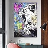 yiyiyaya Arte León Animal Carteles e Impresiones Graffiti Art Lienzo Pintura Arte de la Pared para la Sala Imágenes Decorativas 60x90cm
