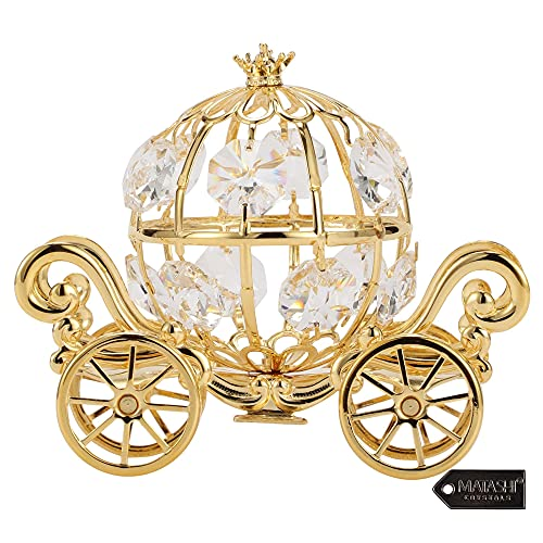 Matashi 24K Gold Plated Crystal Studded Small Cinderella Pumpkin Coach Figurine Ornament for Kids Teens and Adults Romantic Gifts Valentine's Day Birthday Mother's Day Anniversary