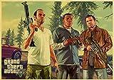 Lona Pared Arte Grand Theft Auto V Game Art Retro Poster Impreso GTA 5 imágenes de Pared para Sala de Estar Decorativa 60x90cm