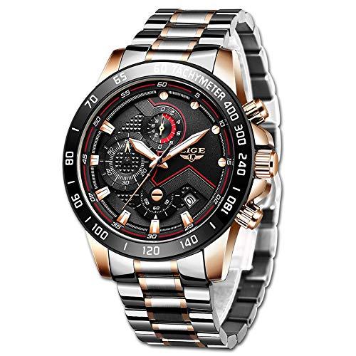 LIGE Reloj para Hombre Elegante Moda Cronógrafo Acero Inoxidable Reloj de Pulsera Deportivo Cuarzo Analógico Impermeable Multifunción Casual Relo (Rose Gold)
