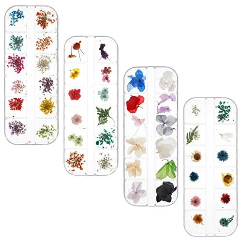 144 Pieces Dried Flowers Nail Art Dry Flowers Natural Dried Flower Snow Lotus Gypsophila Leaves Nail Decoration Stickers with tweezers,3D Nail Applique Nail Art Accessories for Tips Manicure Decor