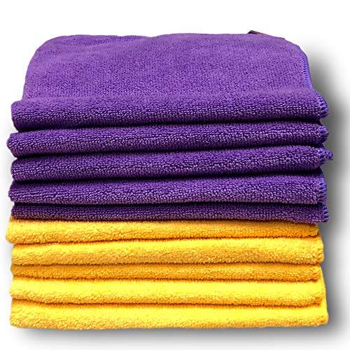 """Paquete de 10 paños de microfibras púrpura y amarillo de calidad premium – Grandes 40cm x 40cm (16""""x16"""") – Felpa ultrasuave – Absorbe 5 veces su peso – Devolución del 100% del dinero"""