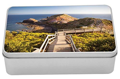 "Ambesonne Australia Tin Box, Cape Schanck Boardwalk Runs Towards The Sea Rock Formation Victora Australia, Portable Rectangle Metal Organizer Storage Box with Lid, 7.2"" X 4.7"" X 2.2"", Tan Green Blue"