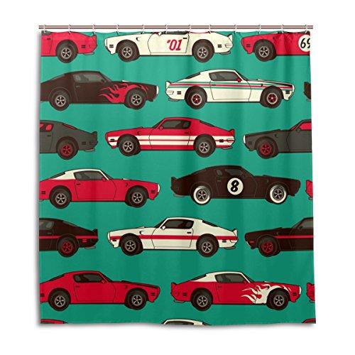 MyDaily Retro Comic Auto-Duschvorhang, 182,9 x 182,9 cm, schimmelresistent & wasserdichte Polyester-Dekoration Badezimmer Vorhang