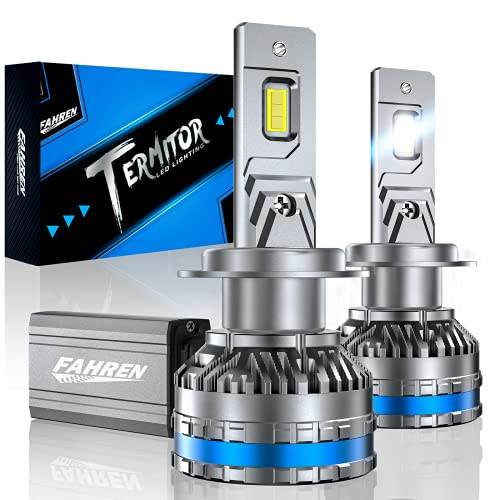 Fahren H7 LED Headlight Bulbs, 120W 20000 Lumens Bright LED Headlights, 6500K Cool White LED Headlight Conversion Kit IP68 Waterproof, Quick Installation, Pack of 2